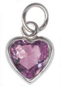 Sterling Silver February Birthstone Heart Charm