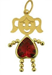 July 14K Gold Face Heart Girl Charm