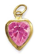 Heart Birthstone Charms Gold