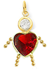 14K Yellow Gold Heart  C-Z Boy Charm Small