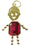 14K Yellow Gold  Face Rectangle Boy Charm