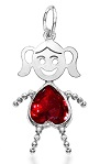 Sterling Silver Face Heart Girl Charm