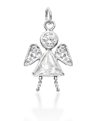 Sterling Silver Angel Girl Charm April