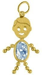 March Gold Face Boy Charm Large