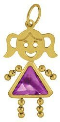 14K Yellow Gold Face Girl Charm Large