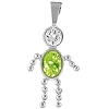 August  Silver Birthstone Boy Charm