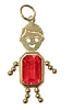 July  Gold Face Rectangle Boy Charm