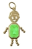 August  Gold Face Rectangle Boy Charm