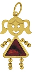 January   Gold Face Girl Charm Large