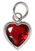 Sterling Silver July Birthstone Heart Charm