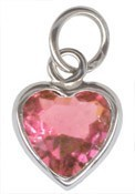 Sterling Silver October Birthstone Heart Charm