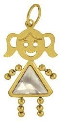 April   Gold Face Girl Charm Large