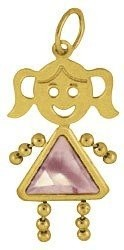 June   Gold Face Girl Charm Large