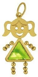 August    Gold Face Girl Charm Large
