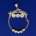 14K Gold Mom's Family Charm Holder